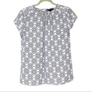 Banana Republic white pattern short sleeve blouse